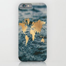 Gold Map in Water iPhone Case
