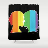 lesbian Shower Curtains featuring Lesbian Love  by Winter Graphics
