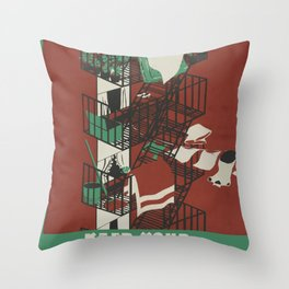Vintage poster - Keep Your Fire Escapes Clear Throw Pillow