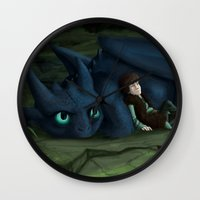 how to train your dragon Wall Clocks featuring How to train your Dragon by amanda.scopel