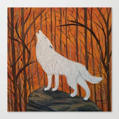 white wolf in the sunset Canvas Print