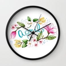 April Flowers Wall Clock