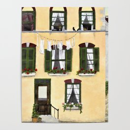 European Apartment Clothes Line Green Shutter Birds And Berry Studio Poster