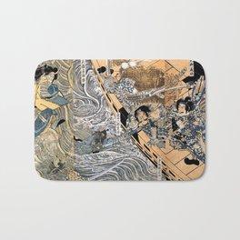 Kuniyoshi Utagawa, The ghost of Taira Tomomori, Daimotsu bay Bath Mat