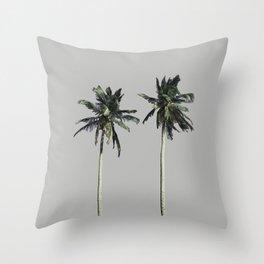 Twin Palms (light grey) Throw Pillow