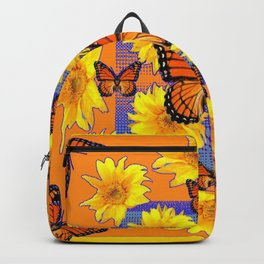 ORNATE YELLOW MONARCH BUTTERFLIES & YELLOW SUNFLOWERS Backpack