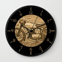 motorcycle Wall Clocks featuring Jawa motorcycle by AhaC