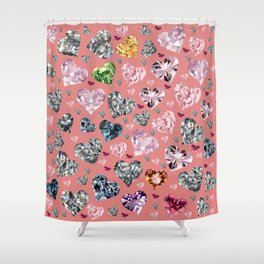 Heart Diamonds are Forever Love Pink Shower Curtain
