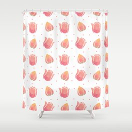 The Pink Tulip Pattern Shower Curtain
