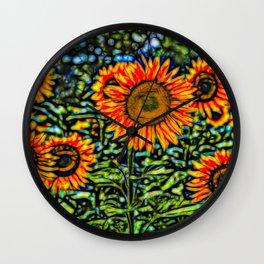 Sunflower Kaleidoscope Wall Clock