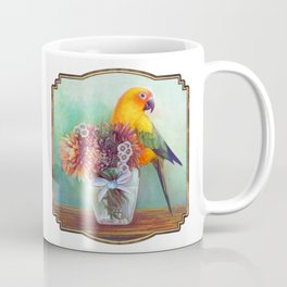 Sun conure and flowers Coffee Mug