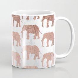 Modern faux rose gold elephants white marble Coffee Mug