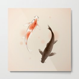 Yin Yang Koi fishes 001 Metal Print