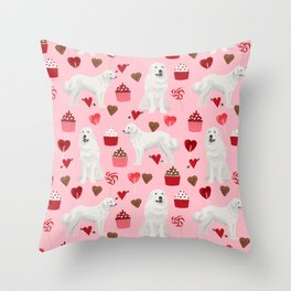 Great Pyrenees dog breed valentines day gifts for dog lover unique dog breeds valentine Throw Pillow