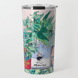 Jungle Botanical in Colorful Cans on Pink - Still Life Travel Mug