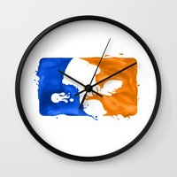 league Wall Clocks featuring Major Ink League by Jango Snow
