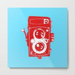 Big Vintage Camera - Red Blue Metal Print