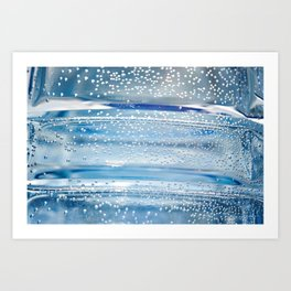 Air bubbles in bottle of water Art Print