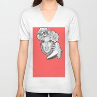 monet V-neck T-shirts featuring FRIDA MONET by Mark Mayr