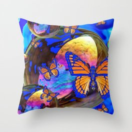 SURREAL BLUE  MONARCH BUTTERFLIES & IRIDESCENT BUBBLES  ART Throw Pillow