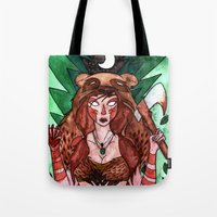 skyrim Tote Bags featuring Skyrim Warrior by Jazmine Phillips