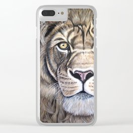 "Lion ""The King"" Acrylic Painting Clear iPhone Case"