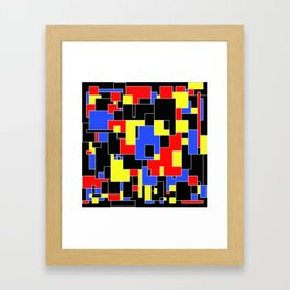 Primary Plans - Abstract, geometric map in primary colours Framed Art Print