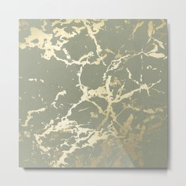 Kintsugi Ceramic Gold on Green Tea Metal Print