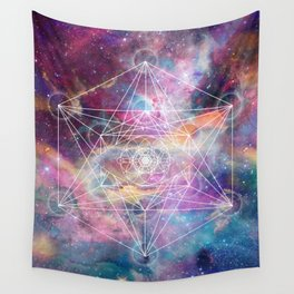 Watercolor and nebula sacred geometry  Wall Tapestry