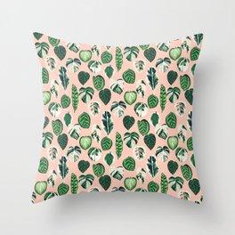 Variegated Plants - houseplants, plants, leaves, tropical, palm print, palms Throw Pillow