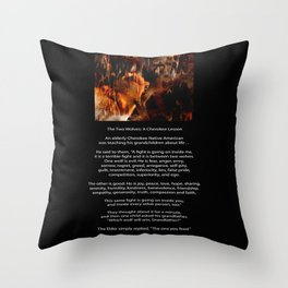 TWO WOLVES CHEROKEE TALE Native American Tale Throw Pillow