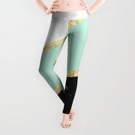 Mint, White, Black Marble and Gold Stripes Glam #1 #minimal #decor #art #society6 Leggings