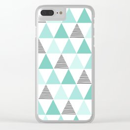 Black Stripes and Mint Triangles Clear iPhone Case