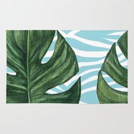 Tropical Watercolor Swiss Cheese Leaf and Zebra Rug