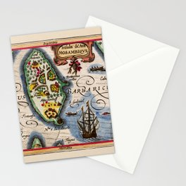Map Of Mozambique 1618 Stationery Cards