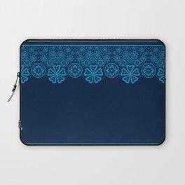 Retro Vintage Blue lace on dark blue background Laptop Sleeve