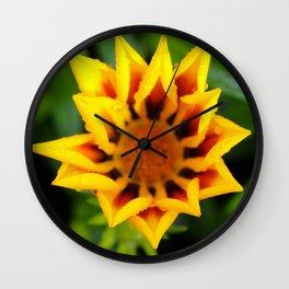 Yellow Flower in the Rain Wall Clock