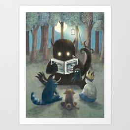 Reading Circle (colour option) Art Print