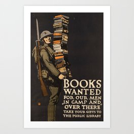 Books for Soldiers (Vintage Poster) Art Print