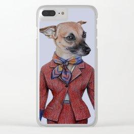 dog in uniform Clear iPhone Case