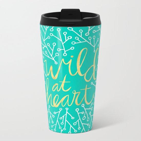 Wild at Heart – Turquoise Metal Travel Mug