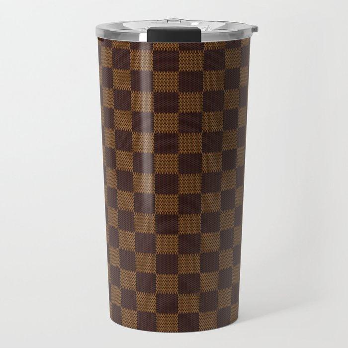 Brown Tan Checkered Pattern Travel Mug