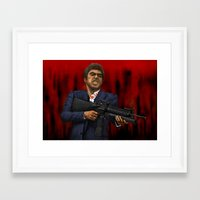scarface Framed Art Prints featuring Scarface by Ben Hayward