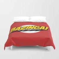 bazinga Duvet Covers featuring The Big Bang Theory - Bazinga  by Merioris