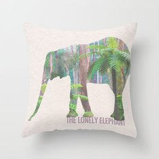 The Lonely Elephant Throw Pillow