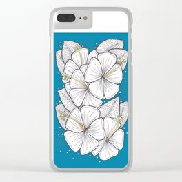 Zentangle Blue and Gold Hibiscus Blossoms for Flower Lovers Clear iPhone Case