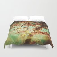 mulan Duvet Covers featuring Vintage Abstract Blossom by Victoria Herrera