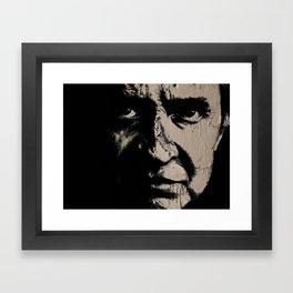 Johnny Cash Cracked Paint Framed Art Print