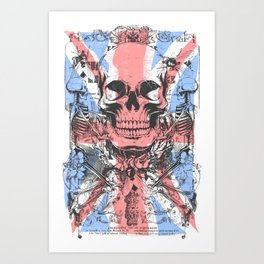 British flag with skull and bones Art Print