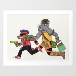 Bebop and Rocksteady Water Fight Art Print